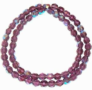 """CZ339 Purple Amethyst AB 6mm Fire-Polished Faceted Round Czech Glass Beads 16"""""""