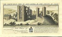 Antique maps, The north-west view of Clun Castle, S & N Buck, 1731