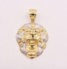 Men's Diamond Cut Lion Head Charm Pendant Real Hollow 10K White Yellow Gold