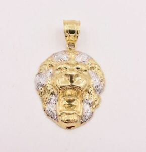 Men's Diamond Cut Lion Head Charm Pendant Real Hollow 10K White Yellow Gold