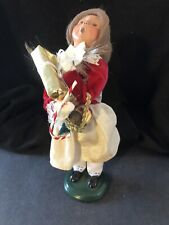 Byers Choice Carolers 2004 Girl With Present, Candy Cane, Red Velvet Top