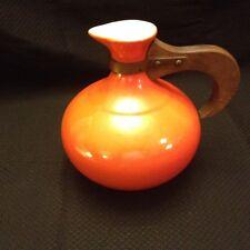 RED WING Orange Flame Carafe/Jug #565 Wooden Handled VTG