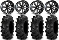 "MSA Black Kore 14"" ATV Wheels 28"" Cryptid Tires Suzuki KingQuad"