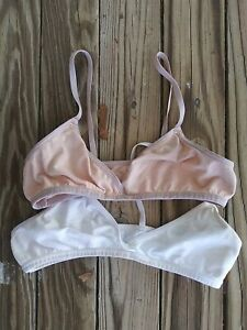 💞2-PACK Fruit of the Loom Girls Beginners Bra Beige & White Size 32 Pre-owned💞