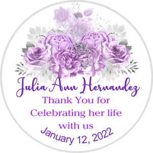 CELEBRATION OF LIFE ROUND STICKERS LABELS FUNERAL SERVICE PURPLE FLORAL CUSTOM