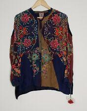 Johnny Was Mardi Georgette Oversized Blouse Cupra Rayon Silk Size XS $240 NEW