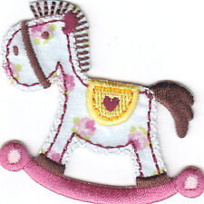 ROCKING HORSE, SATINY w/HEART, CHILDREN, BABIES, CUTE/IRON ON EMBROIDERED PATCH