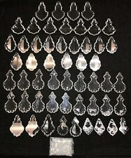 Lot 53 Antique French Clear Crystal Chandelier Fancy Cut Pendalogue Prisms Beads