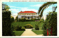 Vtg House That Jokes Built Home Will Rogers Beverly Hills California CA Postcard