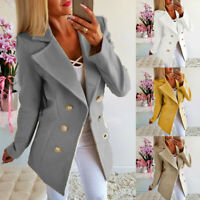 UK Womens Buttons Open Front Military Blazer Coat Ladies Office Jacket Outwear