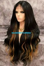 360 Free Part Human Hair Blend Frontal Lace Wig Long Layered Brown Auburn Mix