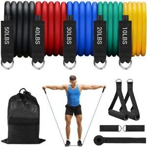 11Pcs Resistance Bands Tubes Set Exercise Home Fitness Workout Yoga Training