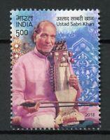 India 2018 MNH Ustad Sabri Khan Musician 1v Set Musical Instruments Music Stamps