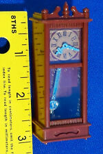 Miniature Wind Up Grandfather Clock Dollhouse Working Plastic Moving Switch Vtg