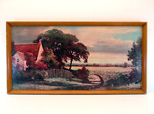 Vintage Robert Wood English Country Side Lithograph Print on Board