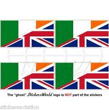 IRLAND-UK Flagge Irischen-Britische Union Jack Fahne Sticker, Aufkleber 50mm x4