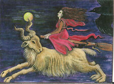 ACEO PRINT OF PAINTING RYTA RAVEN CROW WITCH MOON GOTHIC GOAT HALLOWEEN MAGIC