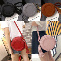 New Women Tassel Round Weave Cross Body Bags Messenger Ladies Cute Shoulder Bag
