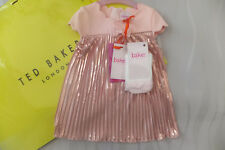 Ted Baker Baby Girls Light Pink Pleated Dress & Tights Set 3-6 Months