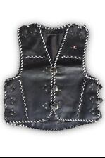Motorbike Vest, Genuine Leather Biker's Vest Hand Braided
