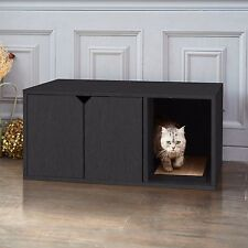 Eco Cat Litter Box, Enclosed Kitty Litter Furniture with Scratch Pad, Black