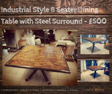 Solid Hand-made Industrial Style Dining Table - Square 8 Seater