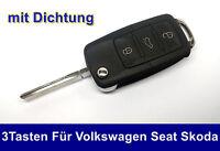 3Tasten Klappschlüssel für VW SKODA SEAT Auto Schlüssel Funkschlüssel Rohling
