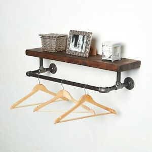 Steampunk Clothes Rail and Shelf - Made from Industrial Pipe & Solid Wood Shelf