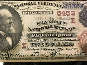 USA  5 Dollars National  1882 (1900)  -- Philadelphia, PA  -- Charter #5459