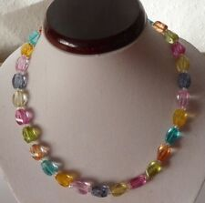 Edelstein Kette aus Bergkristall Multi Mix Twister Perlen Länge ca.46cm.