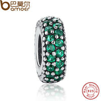 Shining Authentic S925 Sterling Silver Charms With Green Cz For P Bracelet Chain