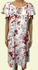 NEW Ex M&S White & Red Floral Short Sleeve Tie Neck Summer Dress Size 10 - 22