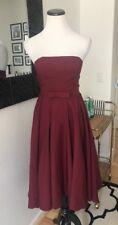 Lulus  Red Wine Strapless Midi Dress Bridemaid Wedding Holiday Dress Tea Length
