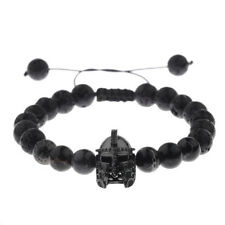 Black Charm Popular Spartan Helmet Natural Stone Adjustable Macrame Bracelets