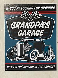 "Grandpa's Garage ~ 12"" x 16"" Metal Sign Ge's Fuelin' around ~ Car Truck Mechanic"