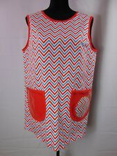 Vintage 1960's Apron With Potholder Art Smock Chevron Pattern