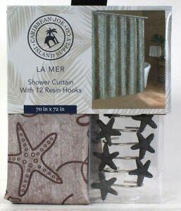 "Caribbean Joe Island Supply Co 70"" X 72"" La Mer Shower Curtain & 12 Hooks"
