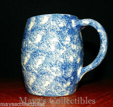 Blue and White Stoneware Spongeware Barrel Mug Gorgeous Cobalt Blue
