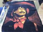 VINTAGE MEXICAN BANDITO HAND PAINTED TAPESTRY 1971 Oil on Velvet Unframed