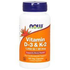 Now Foods, la vitamina D-3 y K-2, 1,000 UI/45 McG, 120 Cápsulas Veg