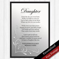 Daughter Gifts. Personalised Gifts for Daughter. Keepsake Poem PRINT ONLY