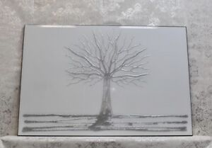 Silver Crystal Glitter Tree On White Glass Wall Mirror/Art /sparkle 120x80cmHome
