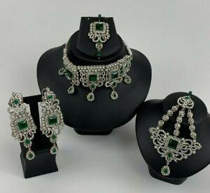 Silver Green Blue Gold Indian Pakistani Wedding Western Asian Jewellery Set