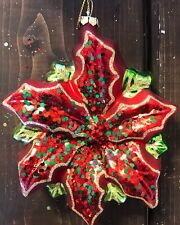 New Glass Blown Christmas Tree Ornament Flower Poinsettia Glitter Sequins Decor
