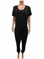 AnyBody Women's Regular Cozy Knit Button Front Jumpsuit Solid Black Large Size