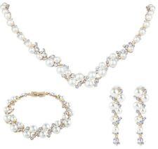 Collier de mariage nuptiale bracelet plaqué or perle ivoire cristal Swarovski set