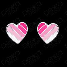 925 Sterling Silver Pink White Heart Earrings Studs Love Girls Women Children