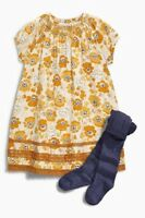 BNWT NEXT Girls Ochre Floral Tunic Dress With Blue Tights 12-18-24 2-3-4-5-6 Y