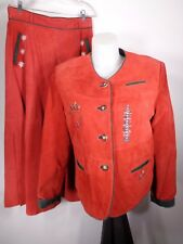 Yuppie Company Womens Large 2 Piece Leather Suit Jacket Skirt Red Christmas Vtg