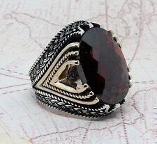 Turkish Ottoman Authentic Red Agate Gemstone Solid 925 Sterling Silver Men Ring
